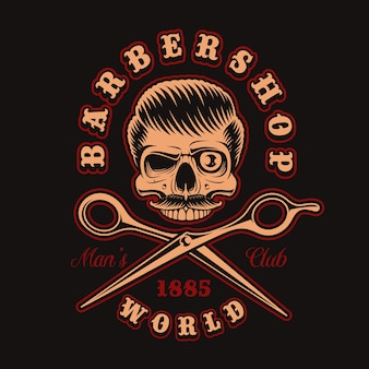 Illustrazione d & # 39; epoca del barbiere scheletro con le forbici sullo sfondo scuro. questo è perfetto per loghi, stampe di camicie e molti altri usi.