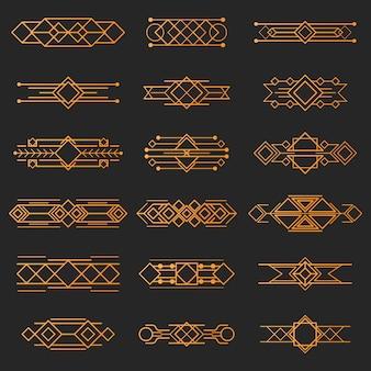 Illustrazione d'epoca, linea di figura geometrica dorata di concetto e etichetta retrò cornice di design. banner di sfondo decorazione, logo grafico elegante di lusso. isolato sul nero.