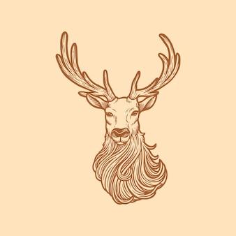 Testa di cervo illustrazione d'epoca con corno