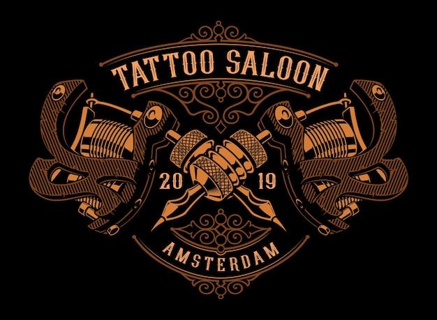 Illustrazione d'epoca di macchinette per tatuaggi d'oro su uno sfondo scuro. tutti gli articoli sono in gruppi separati. idealmente sulla stampa di t-shirt