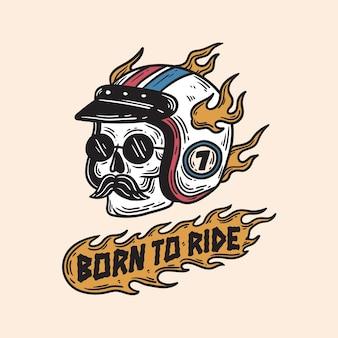 Illustrazione d'epoca del cavaliere del cranio con il casco in fiamme che indossa occhiali da sole e ha i baffi