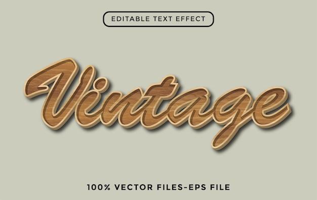 Vintage - effetto testo modificabile con illustrator vettore premium con struttura in legno