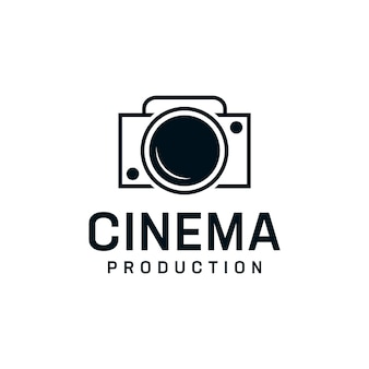 Modello di progettazione del logo della fotocamera ispiratrice vintage.