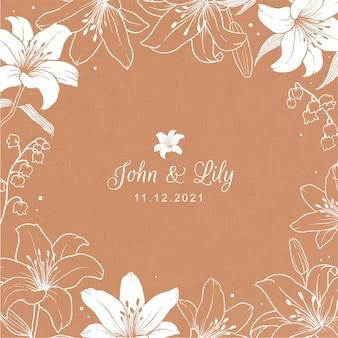 Carta di invito vintage con cornice di fiori di giglio su sfondo di cartone
