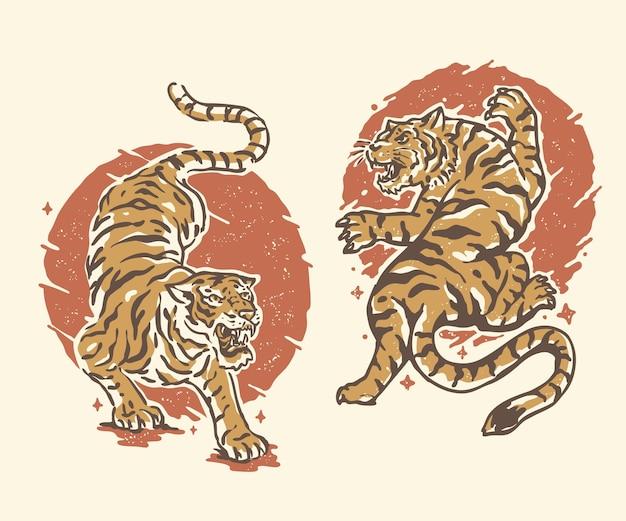 Tigri a tema giapponese vintage