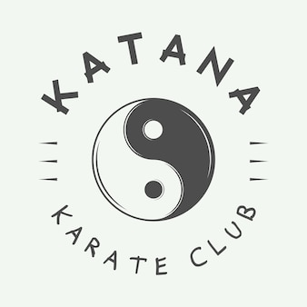Logo vintage di karate o arti marziali