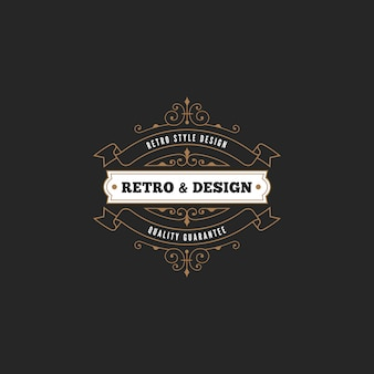 Icona con logo distintivo etichetta vintage.