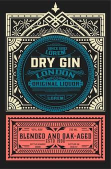 Etichetta vintage per il design di liquori