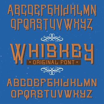 Carattere tipografico etichetta vintage denominato whisky.