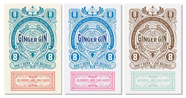 Etichetta vintage con liquore al gin