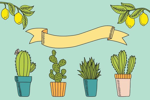 Etichetta vintage con limone e cactus e posto per il testo