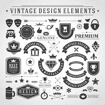 Etichette e distintivi vintage progettano elementi con simboli tipografici