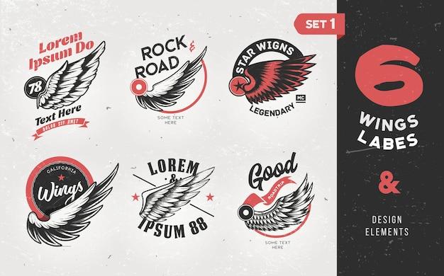 Etichette d'epoca, distintivi, testo ed elementi di design con le ali. illustrazione