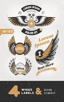 Etichette d'epoca, distintivi, testo ed elementi di design con le ali.