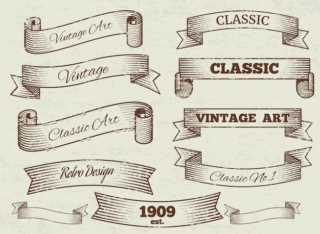 Collezione di etichette e striscioni vintage