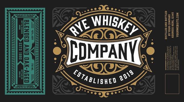 Etichette vintage per whisky o altri prodotti.