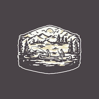 Illustrazione d'annata del logo del distintivo del peschereccio del lago