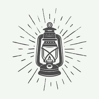 Lampada vintage e logo di illuminazione, emblema, distintivo ed elementi di design. illustrazione vettoriale