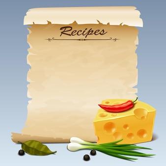 Foglia vintage con ricetta e formaggio
