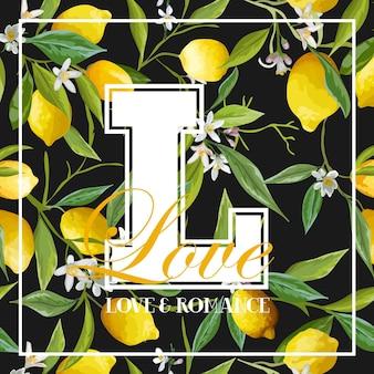 Grafica vintage con limoni, foglie e fiori - per t-shirt