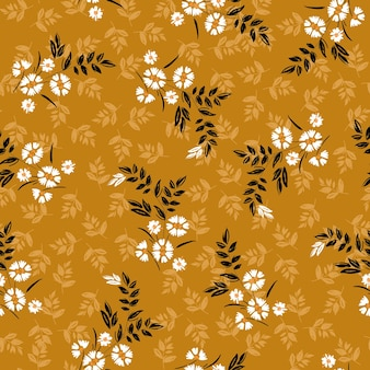 Vintage of liberty piccoli fiori bianchi fioriti e fiori di prato senza cuciture, dessign per moda, tessuto, carta da parati, involucro e tutte le stampe su sfondo giallo retrò.