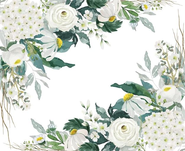Fiori bianchi chiari vintage e decorazione d'angolo del bouquet di foglie verdi