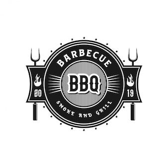Logo vintage per ristoranti barbecue Vettore Premium
