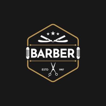 Logo vintage barbershop modello di disegno vettoriale