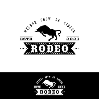 Vintage logo bull buffalo angus cow rampage per stile messicano rodeo stamp logo design