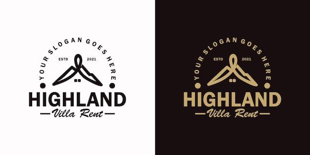 Logo vintage, affitto cabina, affitto villa e altro affitto cabina, riferimento logo per affari