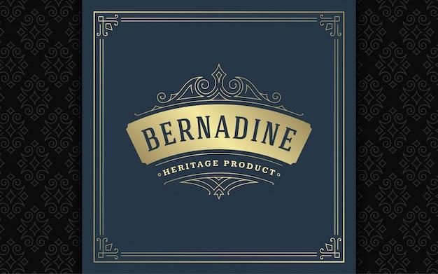 Logo vintage elegante svolazzi linea arte ornamenti aggraziati modello stile vittoriano