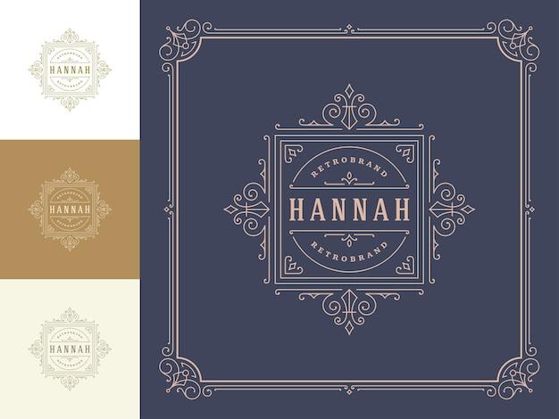 Logo vintage elegante fiorisce line art graziosi ornamenti modello in stile vittoriano.