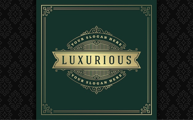 Logo vintage elegante fiorisce line art graziosi ornamenti in stile vittoriano template vettoriale design