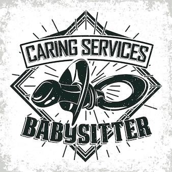 Design grafico logo vintage, timbro stampato, emblema tipografia baby sitter