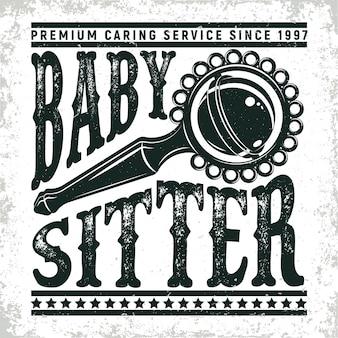 Grafica logo vintage, timbro stampato, emblema tipografia baby sitter