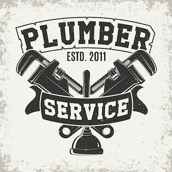 Grafica del logo vintage, timbro stampato, emblema della tipografia dell'idraulico
