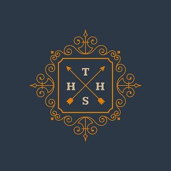 Modello monogramma logo vintage elegante fiorisce ornamenti con disegno del bordo del telaio ornato
