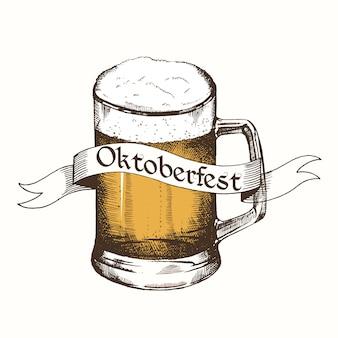 Logo vintage per l'oktoberfest con nastro e birra.