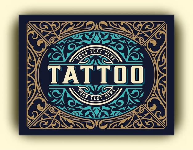 Modello di logo vintage per lo studio del tatuaggio