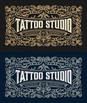Modello di logo vintage con elementi floreali
