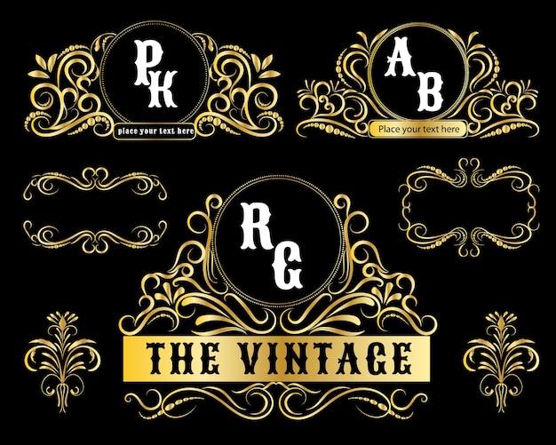 Modelli di logo vintage cornice decorativa in oro.