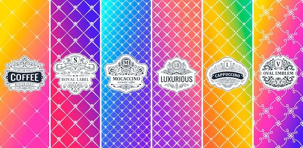 Loghi vintage etichette su sfondo sfumato di colore