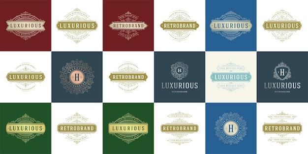 Loghi vintage e monogrammi impostano eleganti ornamenti linea arte graziosi ornamenti modello in stile vittoriano.