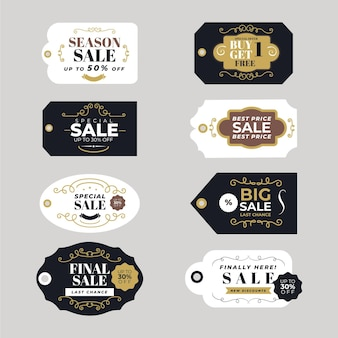 Collezione di tag di vendita dall'aspetto vintage