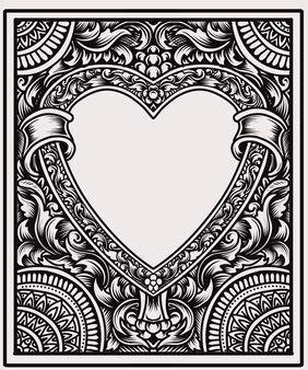 Fiamma di ornamento d'amore vintage con stile di incisione