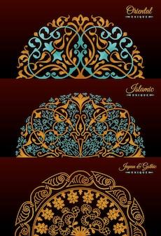 Design decorativo vintage di lusso di mandala d'oro
