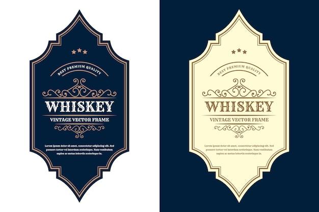 Etichetta con logo di cornici di lusso vintage per etichette di bottiglie di alcol e bevande di whisky di birra premium