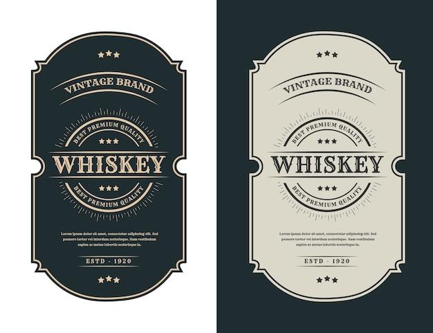 Etichetta con logo di cornici di lusso vintage per etichette di bottiglie di alcol e bevande di whisky di birra