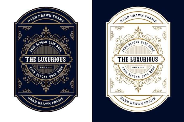 Imballaggio di etichette con logo di cornici di lusso vintage per etichette di bottiglie di birra, whisky, alcol e bevande