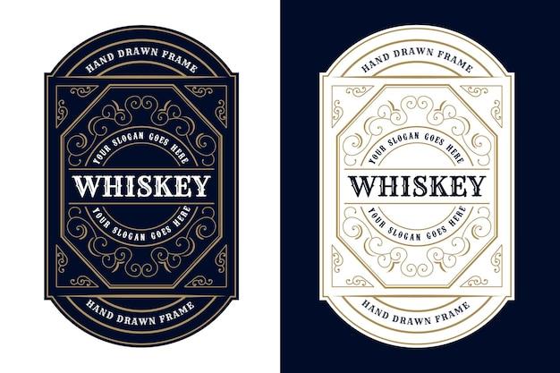 Confezione di etichette con logo vintage cornici di lusso